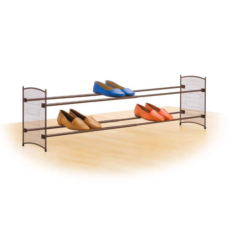 Lynk Expandable 2 Tier Stackable Shoe Rack Steel Mesh Shoe Shelf Platinum