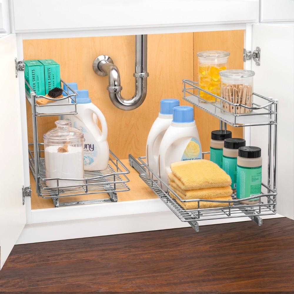 """Sink Organizer Shelf Under Kitchen Cabinet Storage Sliding: 451121 Undersink Cabinet Organizer 11.5""""wide 21""""deep 14"""
