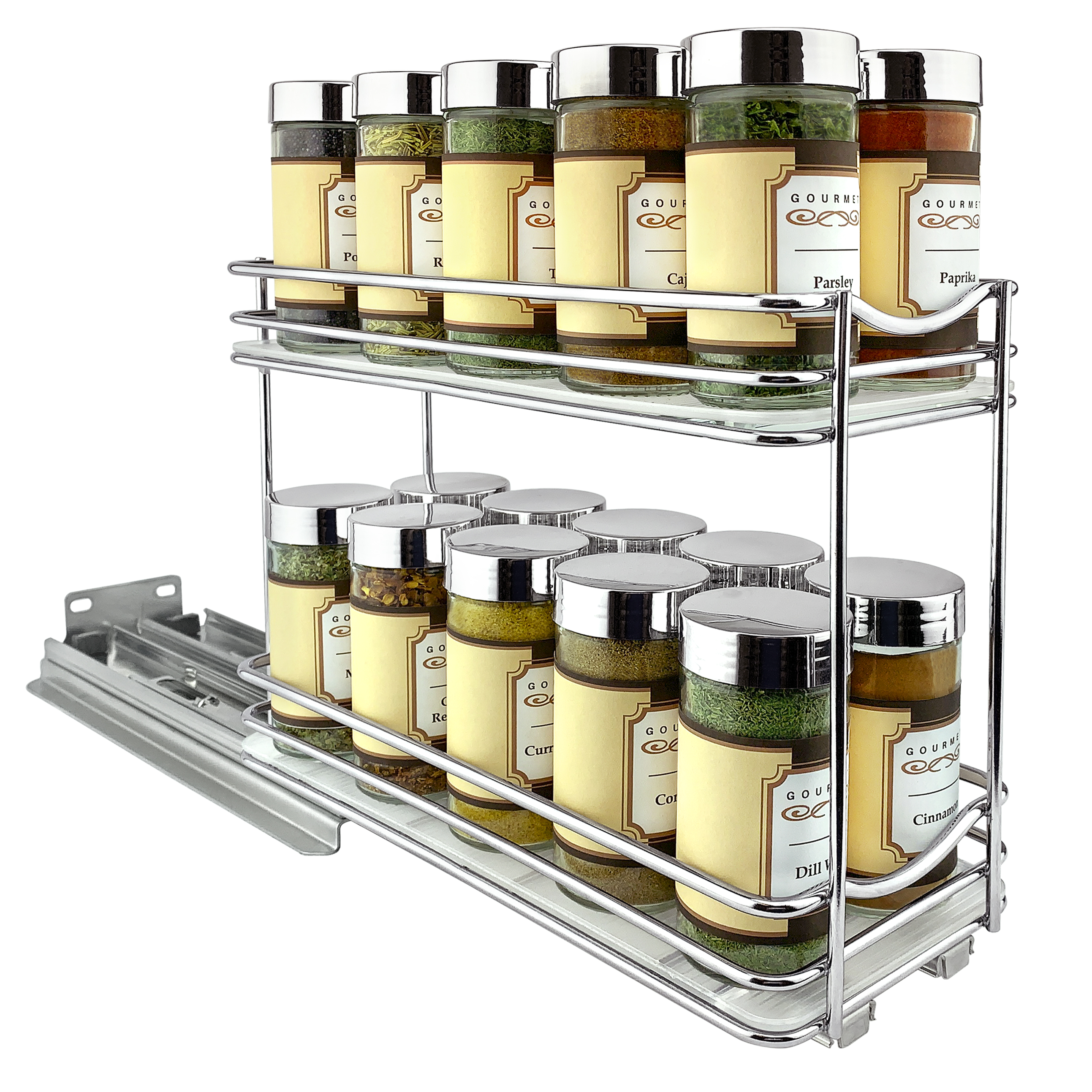 430422 Professional Roll Out Spice Organizer Two Tier Lynk Inc